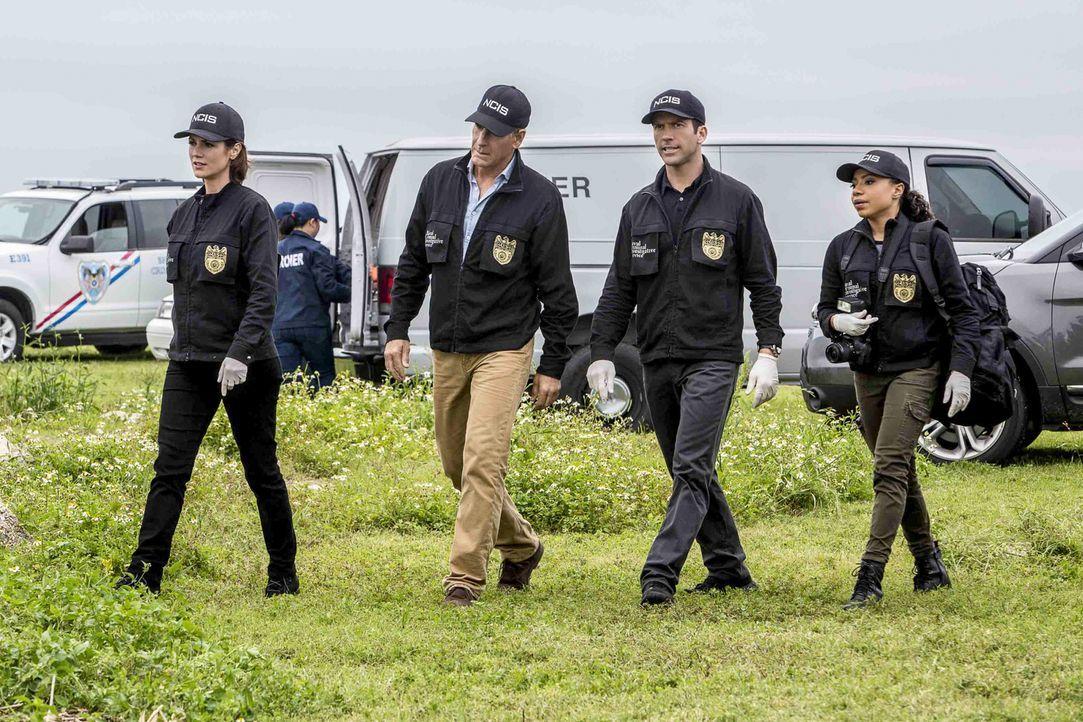 Als die Leiche eines erfahrenen Navy-Tauchers gefunden wird, übernehmen Brody (Zoe McLellan, l.), Pride (Scott Bakula, 2.v.l.), LaSalle (Lucas Black... - Bildquelle: Skip Bolen 2016 CBS Broadcasting, Inc. All Rights Reserved