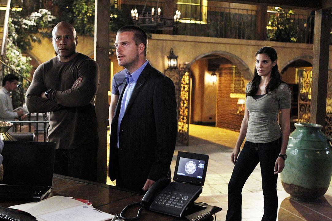Können sich nicht mit der Nachfolgerin von Hetty anfreunden und machen ihr das Leben schwer: Callen (Chris O'Donnell, M.), Sam (LL Cool J, l.) und K... - Bildquelle: CBS Studios Inc. All Rights Reserved.