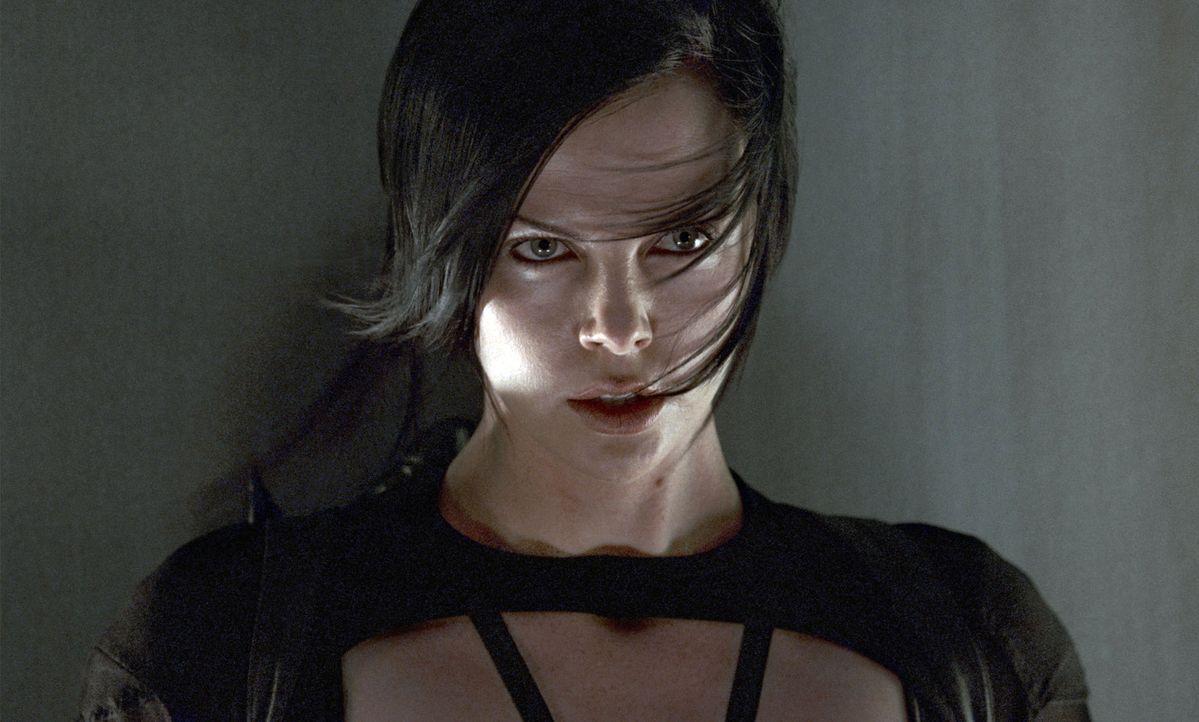 Will sich für die brutale Ermordung ihrer Familie rächen: Topagentin Aeon Flux (Charlize Theron) macht sich auf, den Diktator des Städtchens zu t... - Bildquelle: 2004 by PARAMOUNT PICTURES. All Rights Reserved.