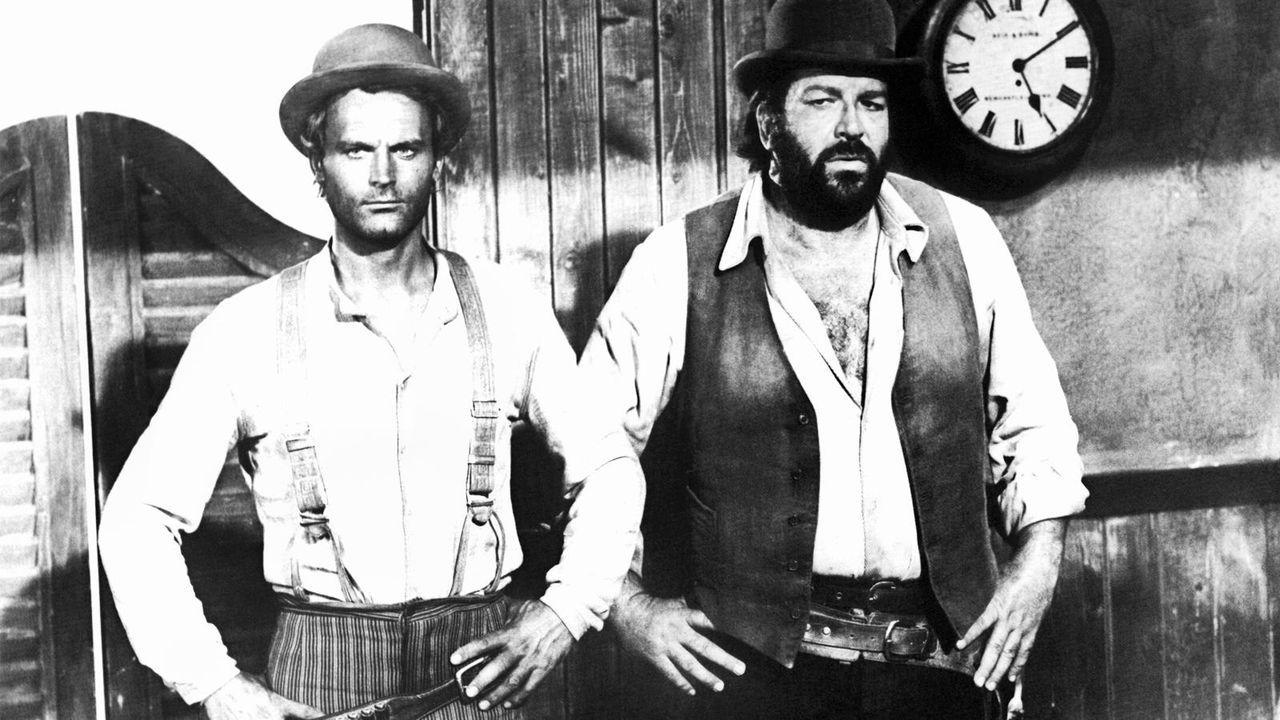 """Terence Hill mit Bud Spencer in """"Vier Fäuste für ein Halleluja"""" (1971) - Bildquelle: dpa"""