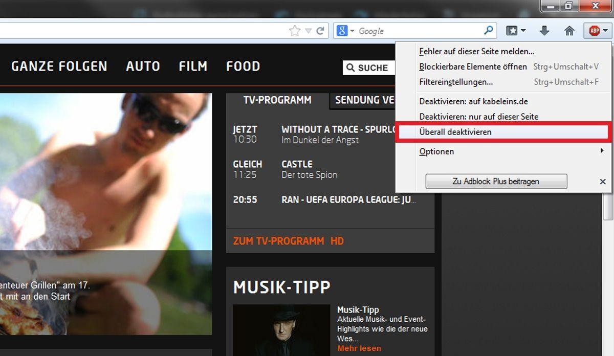 Firefox: AdBlocker deaktivieren