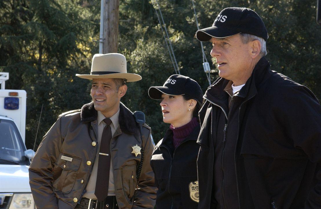 Am Ort des Geschehens: Deke Lester (Mark Damon Espinoza, l.) Kate (Sasha Alexander, M.) und Gibbs (Mark Harmon, r.) ... - Bildquelle: CBS Television