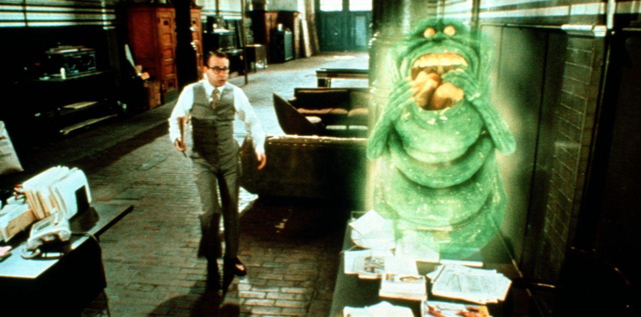 """Der schrullige Tulli (Rick Moranis) erwischt den grünen Hausgeist """"Slimer"""" gerade noch, wie der sein Frühstück verputzt ... - Bildquelle: 1989 Columbia Pictures Industries, Inc. All Rights Reserved."""