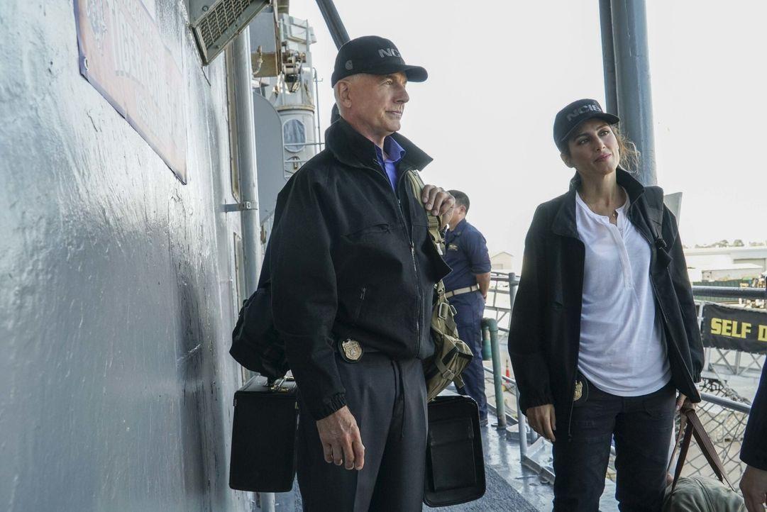 An Bord: Gibbs (Mark Harmon, l.) und Quinn (Jennifer Esposito, r.). Während dem Tiger Cruise wird eine Frau der Navy auf kaltblütige Weise ermordet.... - Bildquelle: Bill Inoshita 2016 CBS Broadcasting, Inc. All Rights Reserved / Bill Inoshita