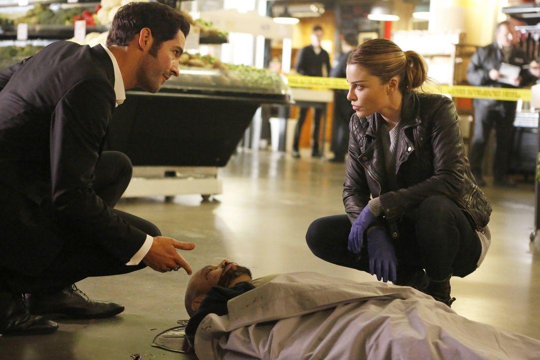 Als ein prominenter Restaurantbesitzer ermordet aufgefunden wird, beginnen Lucifer (Tom Ellis, l.) und Chloe (Lauren German, r.) mit den Ermittlunge... - Bildquelle: 2016 Warner Brothers