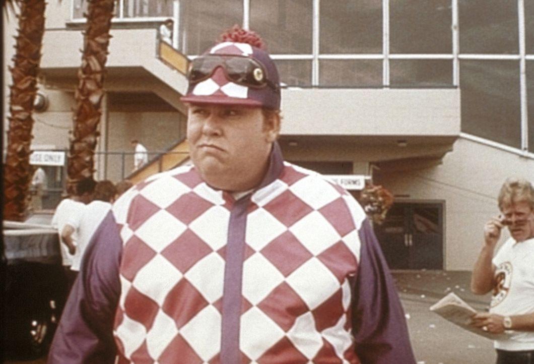Wer ist Harry Crumb (John Candy)? Der beste Privatdetektiv der Welt: diesmal - völlig unauffällig - als Jockey verkleidet ...