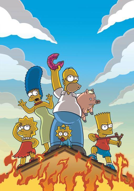 Selbst in einer derart brenzligen Lage will Homer auf keinen Fall auf seinen Donut verzichten ... - Bildquelle: 2007 Twentieth Century Fox Film Corporation