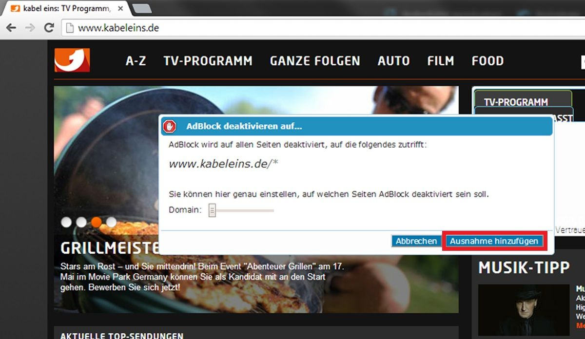 Google Chrome: AdBlocker für bestimmte Seite deaktivieren 2