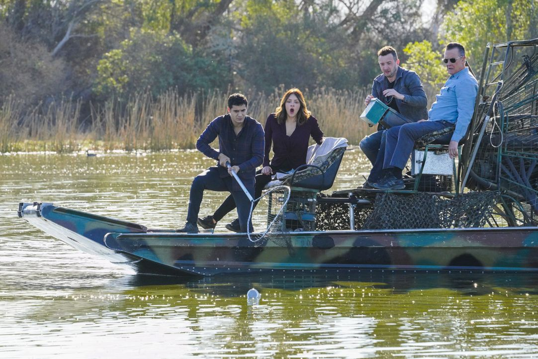 Auf der Suche nach einem gefährlichen Alligator läuft bei (v.l.n.r.) Walter (Elyes Gabel), Paige (Katharine McPhee), Toby (Eddie Kaye Thomas) und Ca... - Bildquelle: Bill Inoshita 2018 CBS Broadcasting, Inc. All Rights Reserved / Bill Inoshita