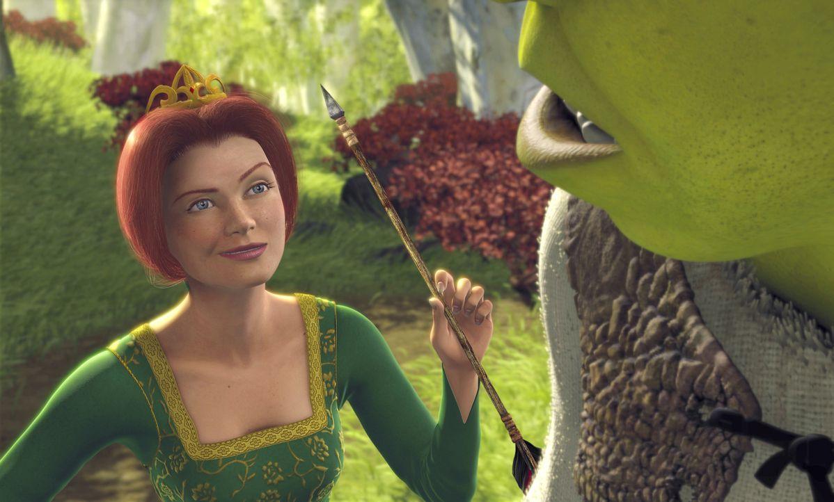 Ist ihr Retter, der wenig schöne Oger Shrek (r.), vielleicht doch ein ganz guter Kerl? Prinzessin Fiona (l.) beginnt, ihre anfänglichen Vorurteile z... - Bildquelle: TM &   2001 DreamWorks L.L.C.