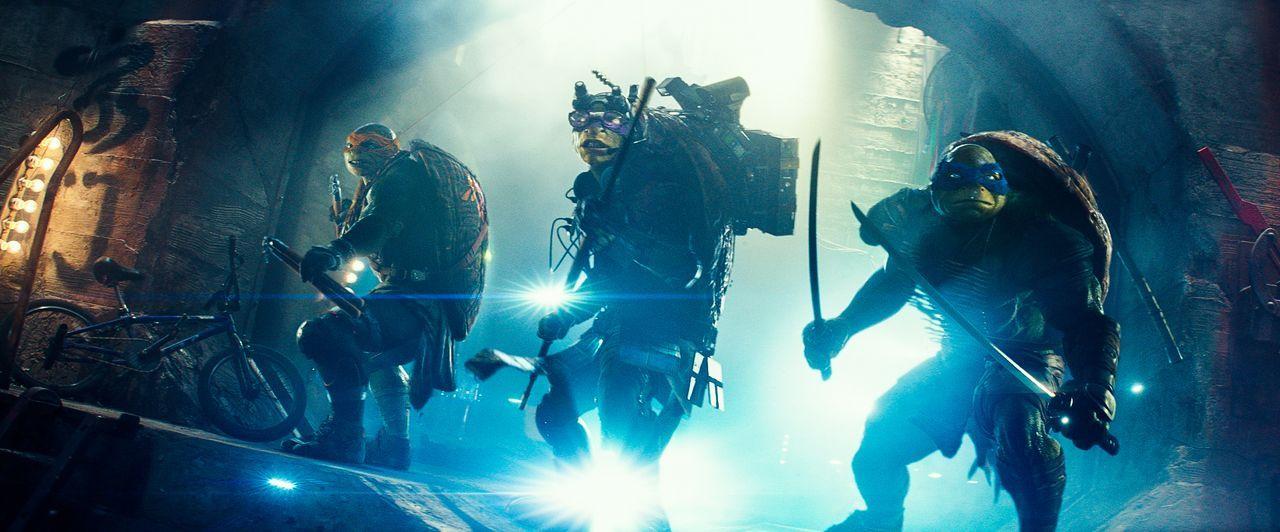 Michelangelo (Noel Fisher, l.), Donatello (Jeremy Howard, M.) und Leonardo (Pete Ploszek, r.) sind humanoide Schildkröten, die im Labor gezüchtet wu... - Bildquelle: MMXIV Paramount Pictures Corporation. All Rights Reserved.
