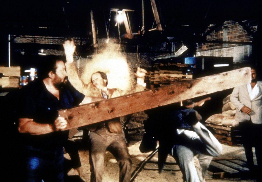 Es kommt zu einem alles entscheidenden Showdown in einem alten Lagerhaus. Bei dem Steve (Bud Spencer, l.) mit den Gangstern ordentlich aufräumt ...