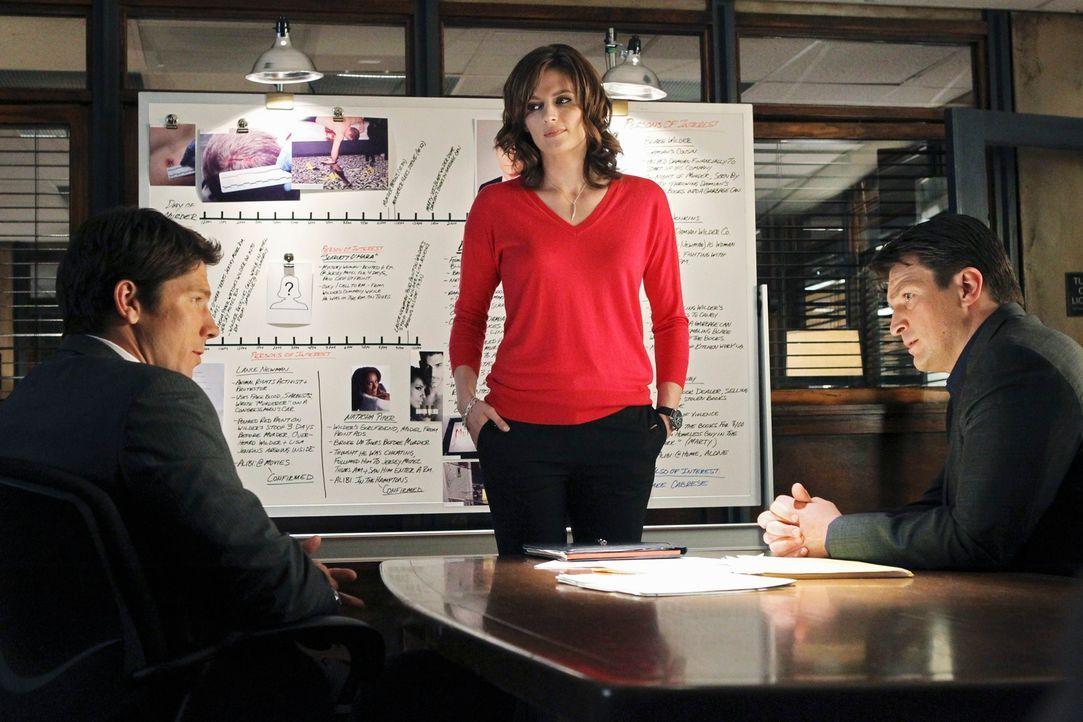 Der Konkurrenzkampf zwischen den beiden Rivalen Demming (Michael Trucco, l.) und Castle (Nathan Fillion, r.) um den richtigen Riecher und um Beckett... - Bildquelle: ABC Studios
