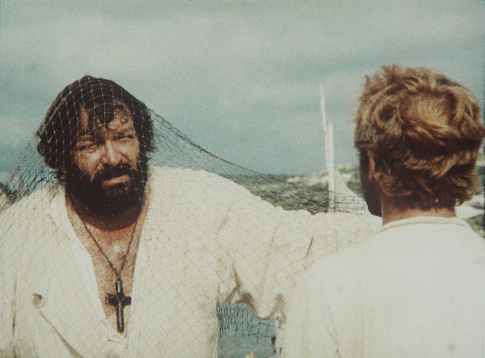 Der Gouverneur von Maracaibo, Marquis Gonzaga, und der zuständige Bischof versuchen, den beiden Padres J. (Terence Hill, r.) und Pedro (Bud Spencer... - Bildquelle: Tobis Filmkunst