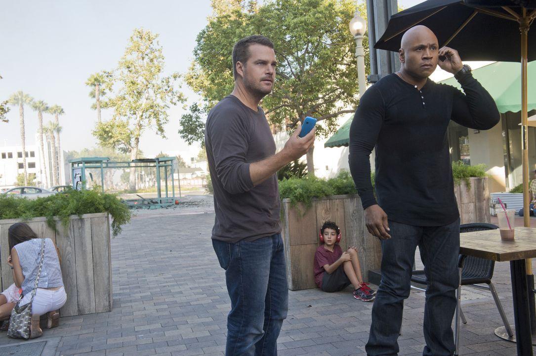 Obwohl sie einen freien Tag haben, werden Callen (Chris O'Donnell, l.) und Sam (LL Cool J, r.) gezwungen zu arbeiten, als sie einen Anruf erhalten h... - Bildquelle: Neil Jacobs 2015 CBS Broadcasting, Inc. All Rights Reserved. / Neil Jacobs