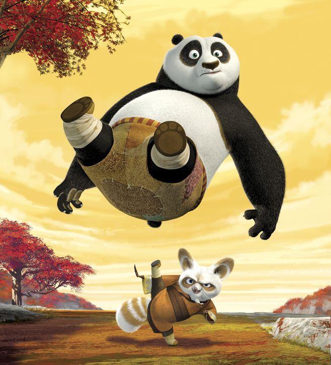 Meister Shifu (unten) sucht nach Mitteln und Wegen, um dem ungelenkigen Pandabären Po (oben) die Kunst des Kung Fu-Kampfes beizubringen ... - Bildquelle: Paramount Pictures