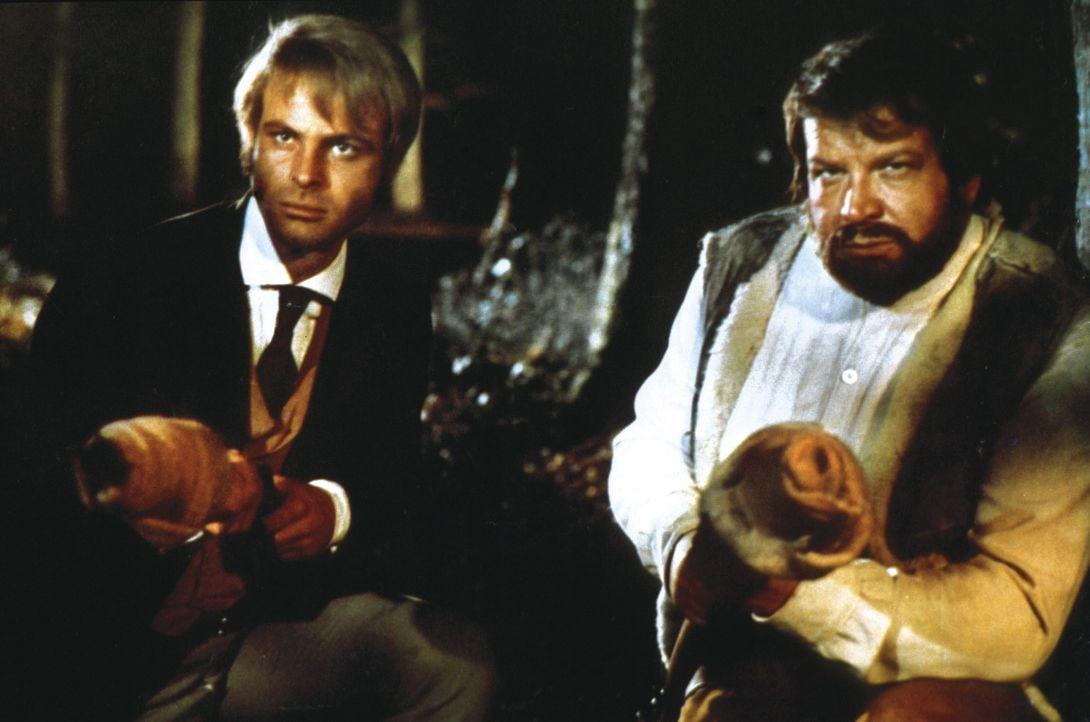 Die Revolverhelden Bunny Fox (Franco Borelli, l.) und O'Bannion (Bud Spencer, r.) sind fest entschlossen, Bill Kiowa dabei zu helfen, den Mann zu st...