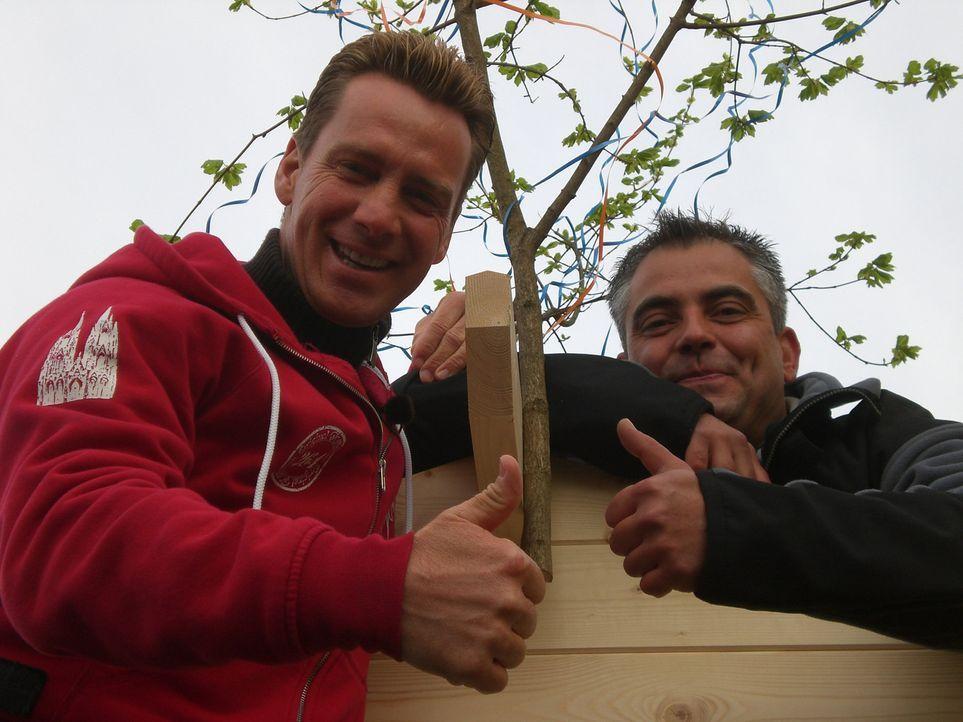 """Jürgen Milski (l.), Kölner """"Big Brother""""-Urgestein, hält sich in seiner Freizeit bevorzugt im eigenen Grün auf. Jetzt will er eine Holzhütte f - Bildquelle: kabel eins"""