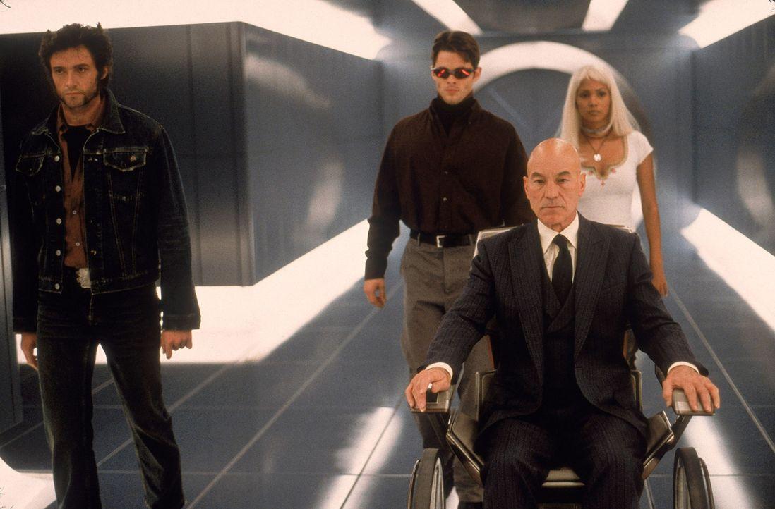 Professor X (Patrick Stewart, 2.v.r.) und seine X-Men: Wolverine (Hugh Jackman, l.), Cyclops (James Marsden, 2.v.l.) und Storm (Halle Berry, r.) - Bildquelle: 2000 Twentieth Century Fox Film Corporation. All rights reserved.