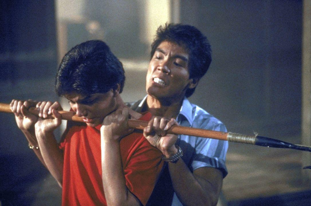 Todfeindschaft: Der amerikanische Karateka Daniel (Ralph Macchio, l.) wird immer wieder von dem  bösartigen Japaner Chozen (Yuji Okumoto, r.) attac... - Bildquelle: Columbia Pictures