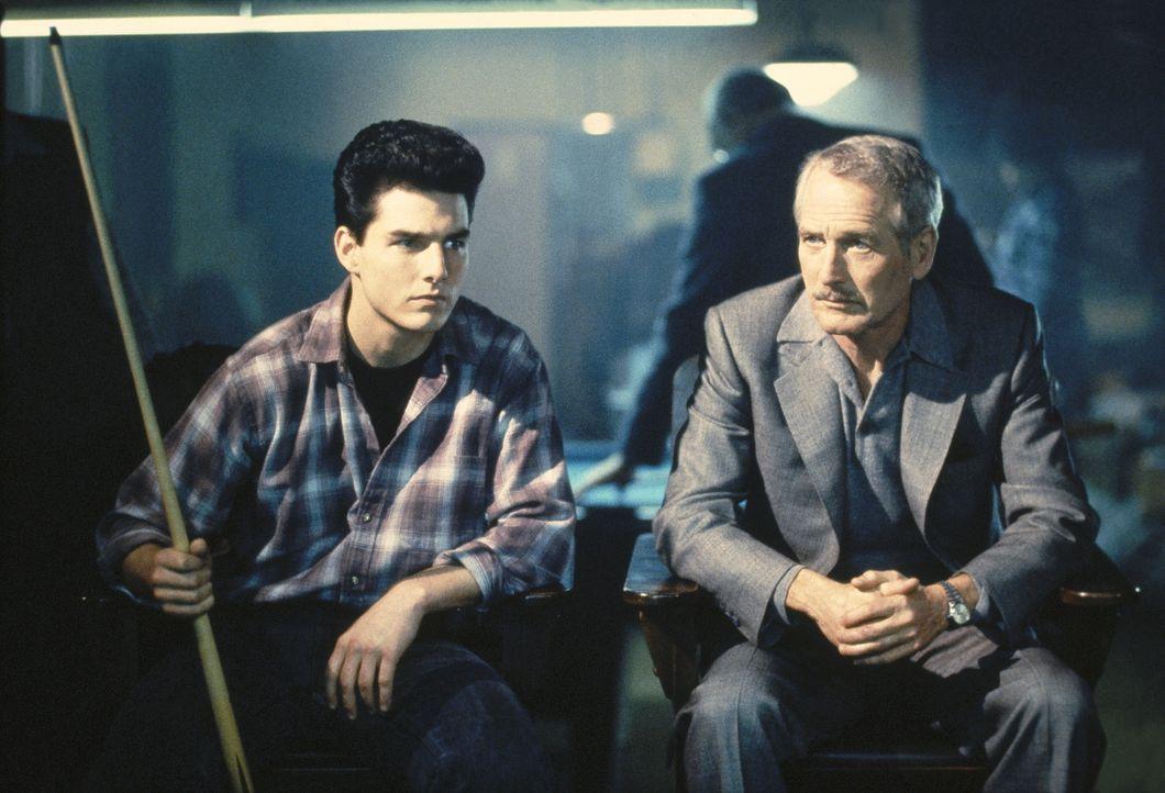 Ex-Poolbillard-Profi Eddie (Paul Newman, r.) ist in die Jahre gekommen und hält sich mit Alkoholverkäufen über Wasser. Doch als er auf Vincent (Tom... - Bildquelle: Buena Vista Pictures