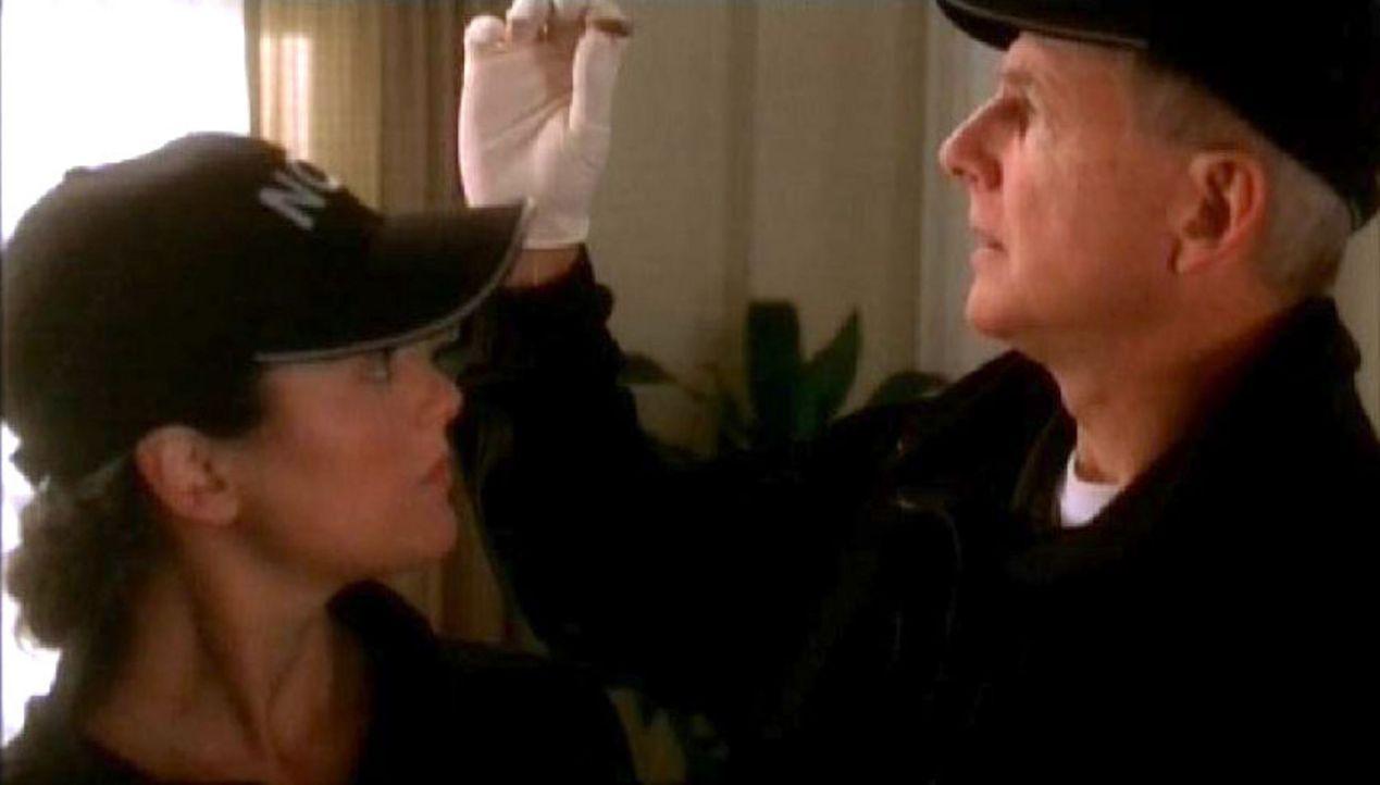 Spezialagent Gibbs (Mark Harmon, r.) und Ziva David (Cote de Pablo, l.) begutachten ein Beweisstück des Tatorts ... - Bildquelle: CBS Television