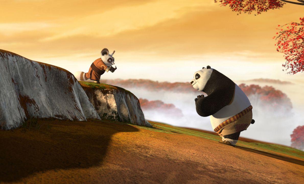 """Der Trainer der legendären Kampfsporttruppe, die """"Furiosen Fünf"""", Meister Shifu (l.) steht vor einer schweren Aufgabe: Der dicke Panda Po (r.) soll... - Bildquelle: Paramount Pictures"""