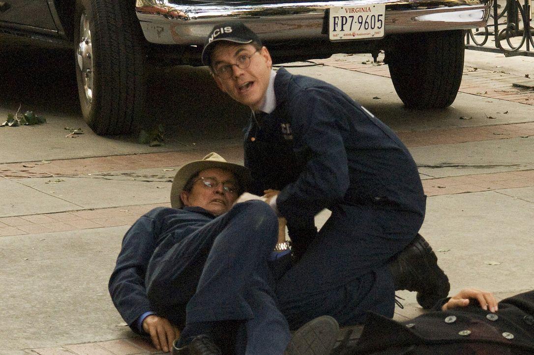 Nachdem Ducky (David McCallum, l.) an einem Tatort von einer vermummten Frau angegriffen und in die Hand gestochen wurde, kalamiert Jimmy Palmer (Br... - Bildquelle: CBS Television