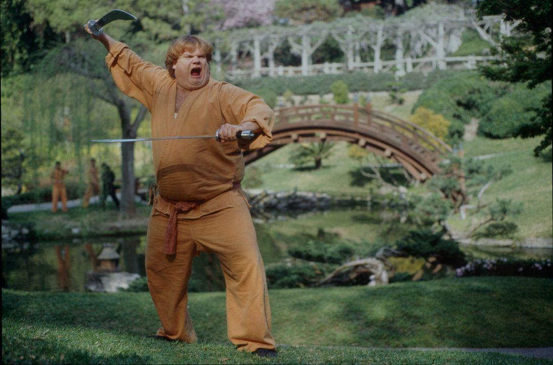 Zuerst als neuer Messias der Ninjas gefeiert, dann als absoluter Tölpel entlarvt: Haru (Chris Farley) ... - Bildquelle: 1997 TriStar Pictures, Inc. All Rights Reserved.