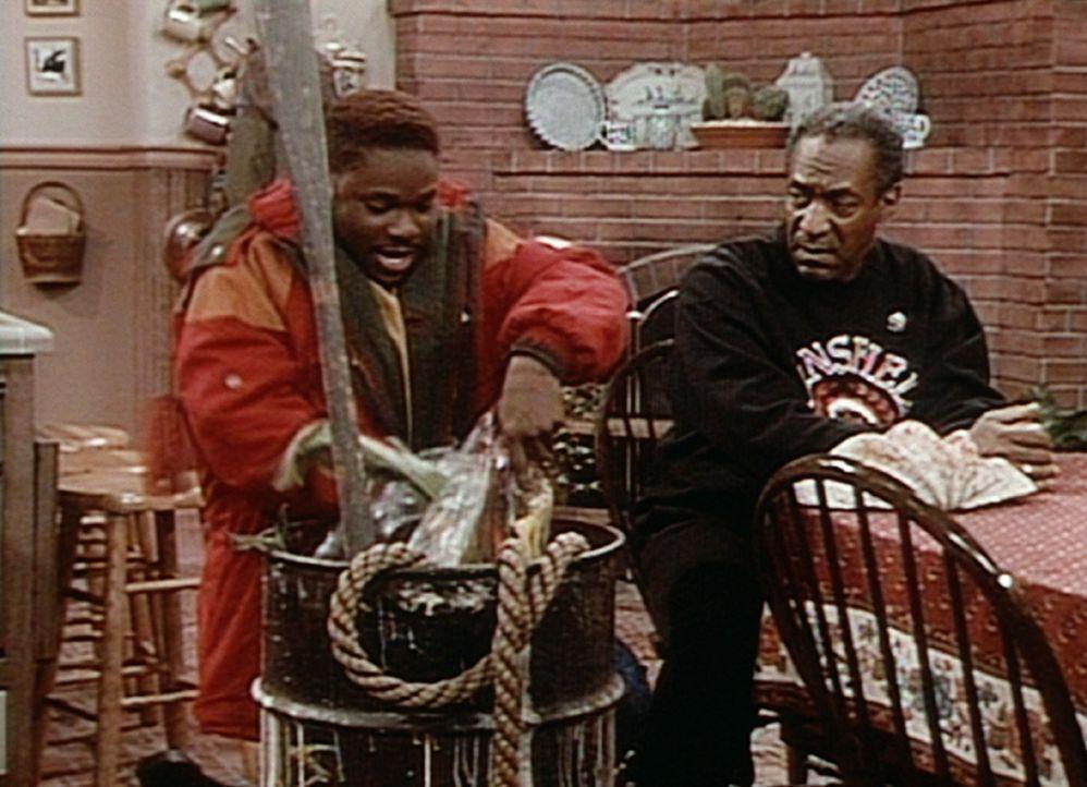 Cliff (Bill Cosby, r.) ist von den Requisiten zur Ausschmückung der Hochzeitstagstafel, die Theo (Malcolm-Jamal Warner, l.) anschleppt, zunächst n... - Bildquelle: Viacom