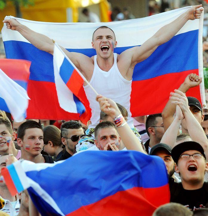 Die russischen Fans - Bildquelle: dpa