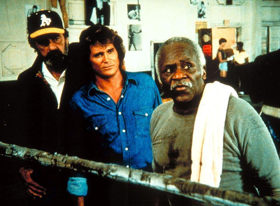 Aufmerksam verfolgt Großvater Boomer (Hank Rolike, r.) zusammen mit Mark (Victor French, l.) und Jonathan (Michael Landon) einen Kampf seiner Schü... - Bildquelle: Worldvision Enterprises, Inc.