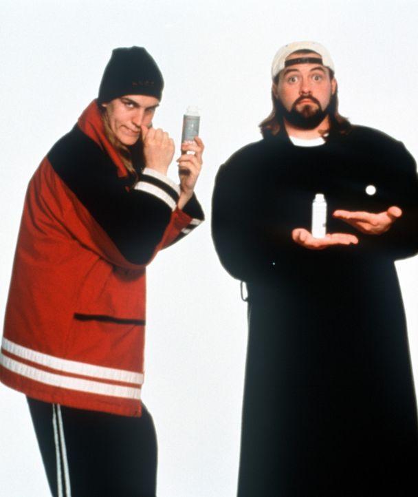 Die beiden Propheten Jay (Jason Mewes, l.) und Silent Bob (Kevin Smith, r.) sollen das unheilige Paar aufhalten. Dabei gilt ihr ganzes Sinnen und St... - Bildquelle: Kinowelt
