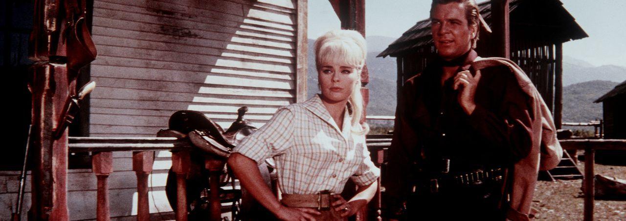 Die kesse Annie (Elke Sommer, l.) und der Farmer Martin Baumann (Götz George, r.) verstehen sich auf Anhieb sehr gut miteinander ... - Bildquelle: Columbia Pictures