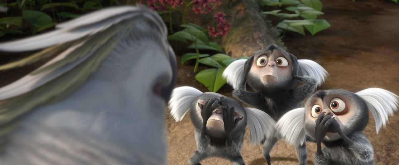 Die diebischen Weißpinselaffen und der weiße Kakadu Nigel (l.) haben es auf Blue und Jewel abgesehen. Doch gemeinsam mit ihren Freunden versuchen si... - Bildquelle: Blue Sky Studios 2011 Twentieth Century Fox Film Corporation. All rights reserved.