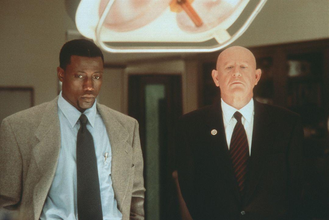 Detective Harlan Regis (Wesley Snipes, l.) glaubt, von Spikings (Daniel Benzali, r.), Sicherheitschef im Weißen Haus, Unterstützung zu erhalten. Doc... - Bildquelle: Warner Bros.
