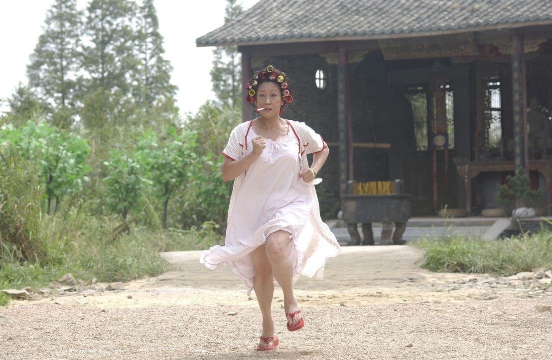 """Mit der Hausbesitzerin (Qiu Yuen) der """"Residenz Schweinestall"""" ist nicht zu spaßen. Sie verteidigt ihr Hab und Gut nämlich nicht allein, sondern m... - Bildquelle: 2004 Columbia Pictures Film Production Asia Limited. All Rights Reserved."""