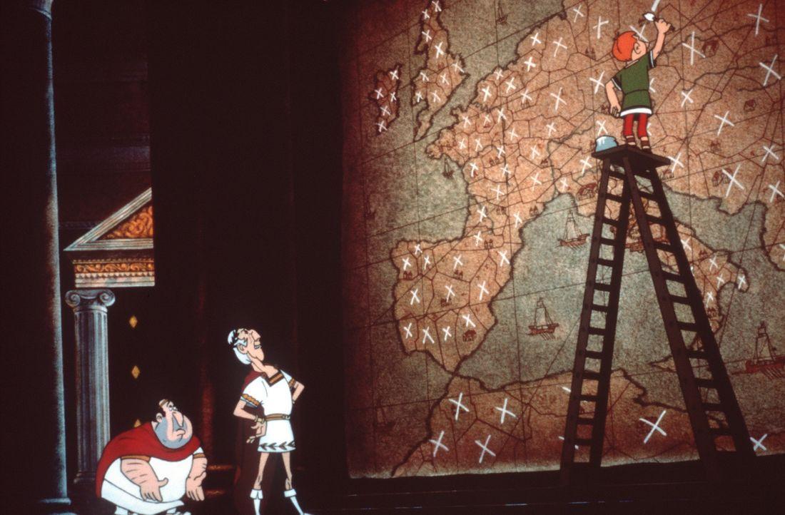 Während der Feierlichkeiten zu Cäsars (M.) Geburtstag entführt ein übereifriger Legionär die Verlobten Falbala und Tragicomix. Asterix und Obel... - Bildquelle: Jugendfilm-Verleih GmbH