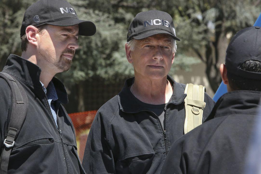 Willkommen zurück: McGee (Sean Murray, l.) und Gibbs und (Mark Harmon, r.) werden von Nick am Leichenfundort begrüßt. - Bildquelle: Patrick McElhenney 2017 CBS Broadcasting, Inc. All Rights Reserved. / Patrick McElhenney