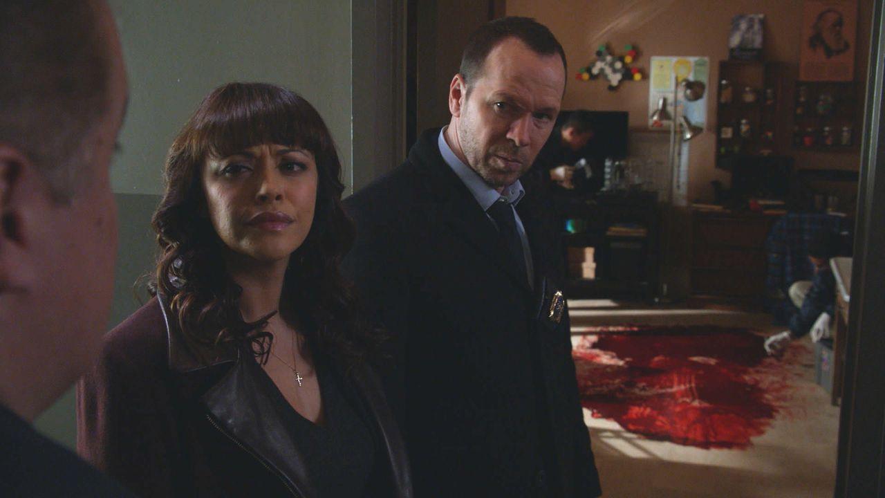 Ein grausames Blutbad: Danny (Donnie Wahlberg, r.) und Baez (Marisa Ramirez, M.) untersuchen den Mord an einem Grundschullehrer. - Bildquelle: 2014 CBS Broadcasting Inc. All Rights Reserved.