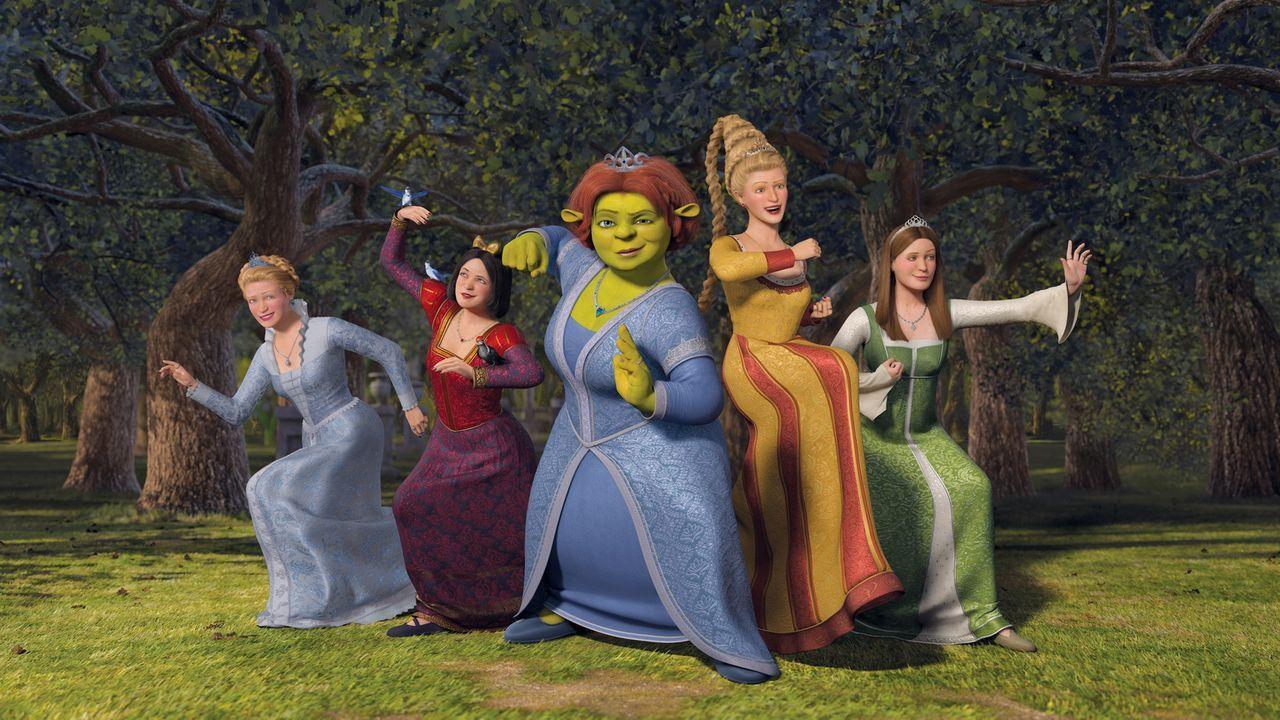 Macht erneut Ärger: Prinz Charming versucht Fiona (M.) und die anderen Prinzessinnen einzusperren, denn er möchte sich auf diese Weise selbst zum Kö... - Bildquelle: TM &   2007 Dreamworks Animation LLC