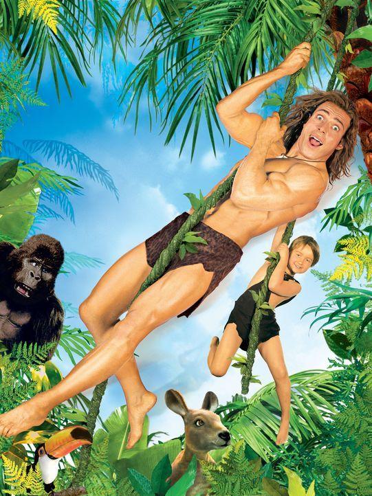George (Christopher Showerman, oben) bringt seinem Sohn George jr. (Angus T. Jones, unten) alles bei, was er zum Überleben im Dschungel wissen muss... - Bildquelle: Walt Disney Pictures