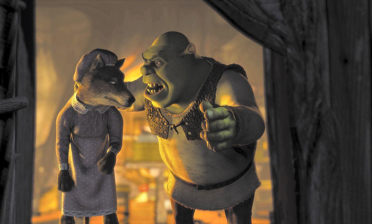 Ungebetene Gäste haben bei Oger Shrek (r.) keine guten Karten. Kurzerhand setzt er den Wolf (l.) vor die Tür, denn Shrek geht nichts über seine besc... - Bildquelle: TM &   2001 DreamWorks L.L.C.