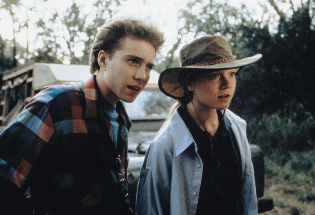 Die beiden Teenager Rand (Jonathan Brandis, l.) und Val (Ariana Richards, r.) versuchen, ein Löwenjunges aufzuziehen. Das Tier, das auf den Namen E... - Bildquelle: 1996 Franklin/Waterman 2. All Rights Reserved.