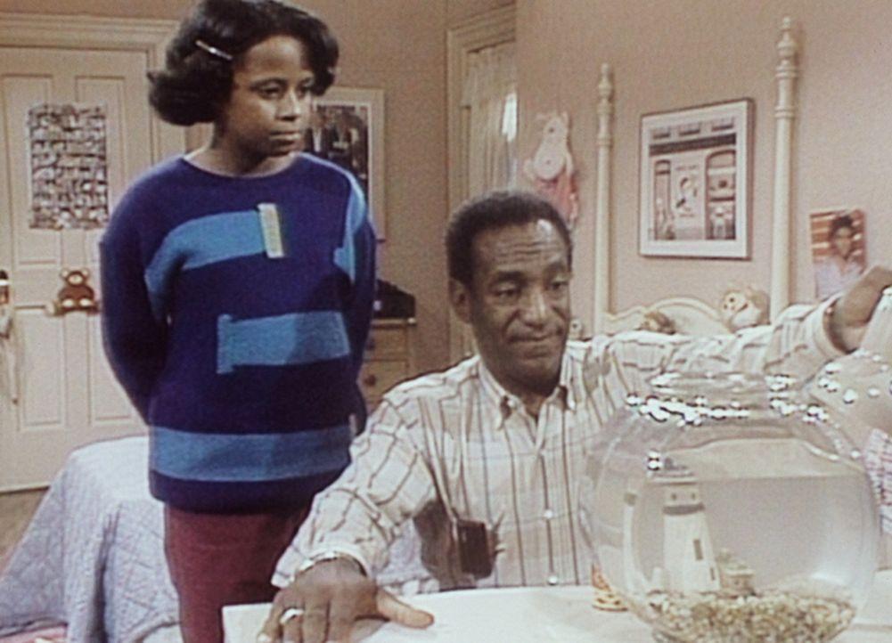 Vanessa (Tempsett Bledsoe, l.) sieht ihrem Vater Cliff (Bill Cosby, r.) zu, wie er den toten Goldfisch betrachtet. - Bildquelle: Viacom