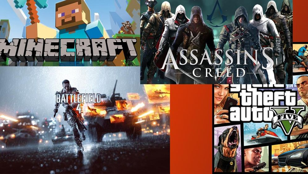 - Bildquelle: Minecraft, Assassins Creed, Battlefield 4, Grand Theft Auto