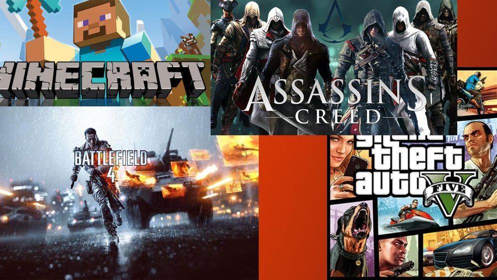 - Bildquelle: Minecraft, Assassins Creed, Battlefield 4, Grand Theft Auto