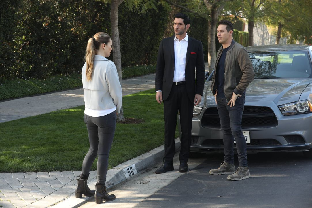 (v.l.n.r.) Chloe (Lauren German); Lucifer (Tom Ellis); Dan (Kevin Alejandro) - Bildquelle: Jordin Althaus 2017 Fox Broadcasting Co. / Jordin Althaus