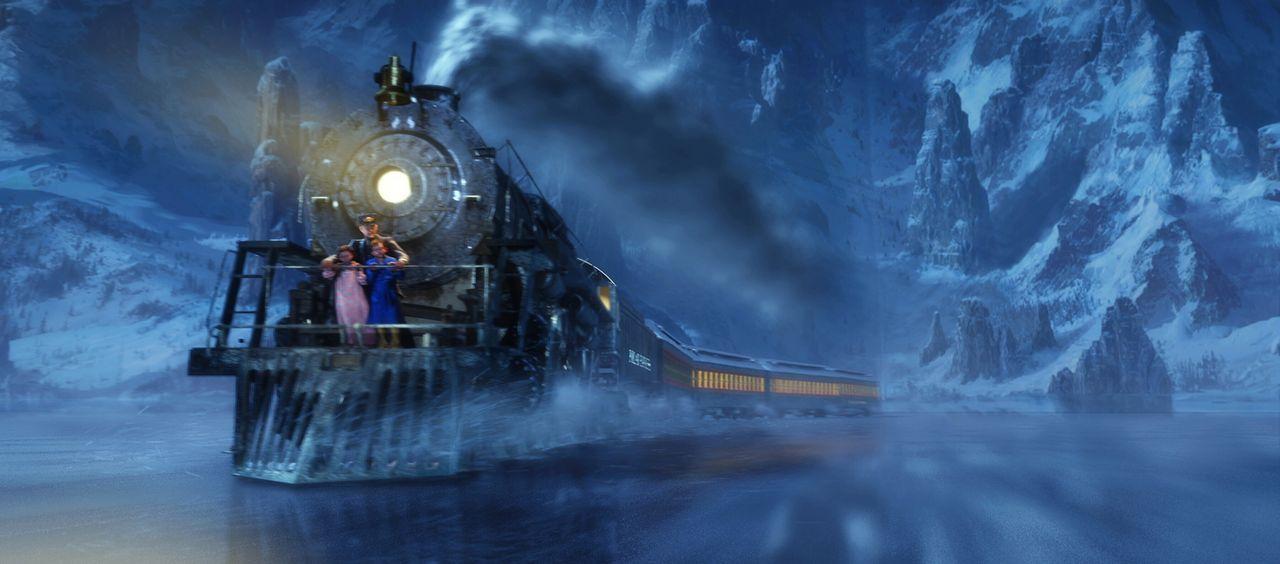 Die Gleise sind zwar zugefroren, doch das ist noch lange kein Grund für den Polarexpress, stehen zu bleiben ... - Bildquelle: Warner Bros. Pictures