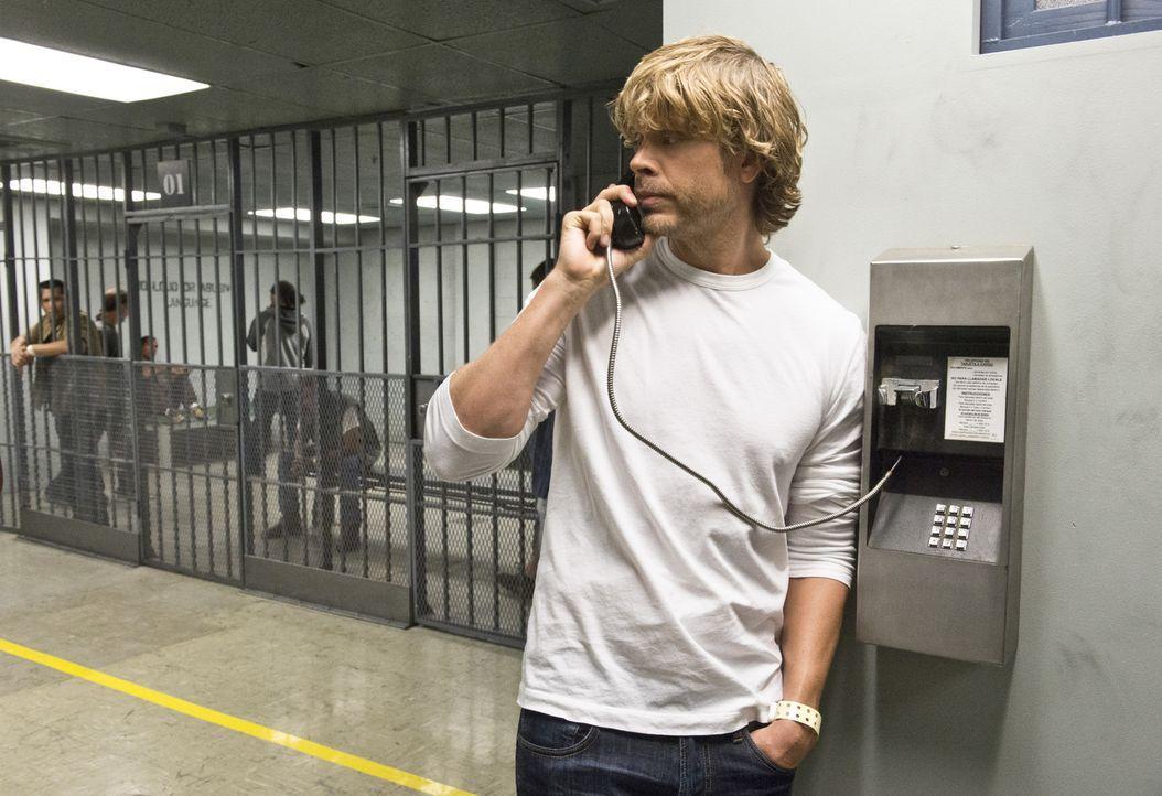 Steht unter Mordverdacht. Doch ist Deeks (Eric Christian Olsen) wirklich schuldig, seinen ehemaligen Partner ermordet zu haben? - Bildquelle: Neil Jacobs 2015 CBS Broadcasting, Inc. All Rights Reserved.